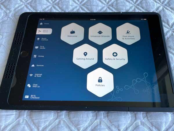 Universal's Adventura Hotel in room control and info iPad